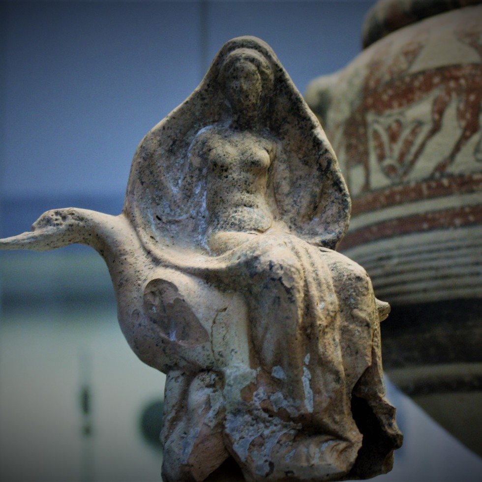 aphrodite riding on a swan